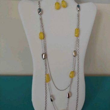 Fiesta Jewelry Booktique single silver yellow beads necklace women