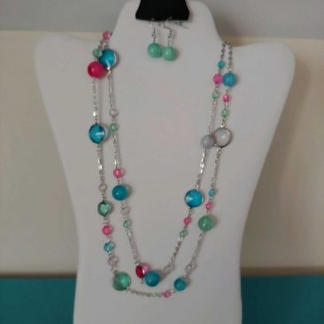 Fiesta Jewelry Booktique colorful beads silver chain necklace women