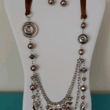 Fiesta Jewelry Booktique silver brown necklace women
