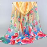 Libros Booktique chiffon yellow rose scarf scarves